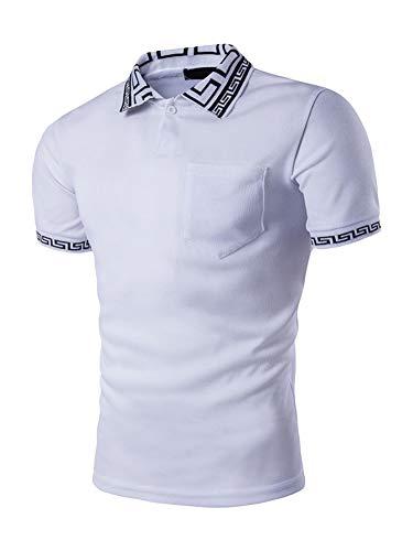 SweatyRocks Men's Greek Key Print Short Sleeve Polo Shirt Ribbed Casual Slim Fit T-Shirts White XXL