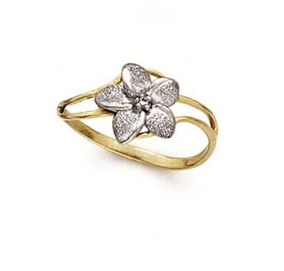 - 14k Two-Tone Gold Plumeria Diamond Ring - Size 7.0