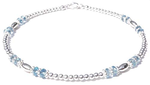 Aquamarine Silver Beaded Bracelets - DAMALI Silver Aquamarine Ankle Bracelets, March Birthstone Jewelry Petite to XL Plus Size Anklets