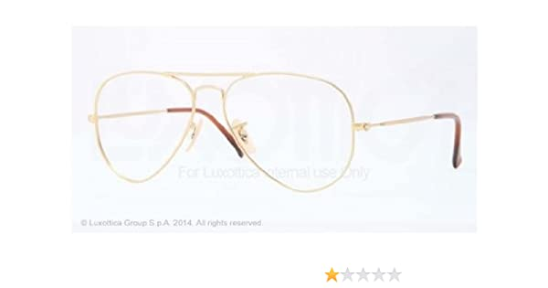 9a69c37913 Amazon.com  Ray Ban RX6049 Aviator Eyeglasses-2730 Matte Gold-52mm  Clothing
