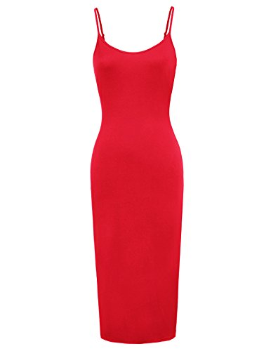 Kate Kasin Women Lightweight Spaghetti Strap Nightgown Long Maxi Slips (Red S) -