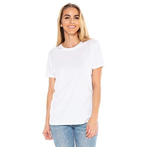 Women's Designer T-Shirt Short Sleeve Crew Neck Lightweight Luxury Organic Cotton Embroidered Pre-Shrunk - Made in USA (White, Large)