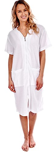 Patricia Women's Robe Short Sleeve Cover-Up Zip-Front with Pockets (White Waffle Weave, L)
