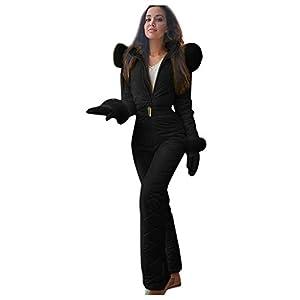 Combinaison Pantalon De Ski Femme Chaud Qualité Ski Suit Capuche Fourrure Slim Bodysuits en Plein Air Sport Vêtements d'hiver