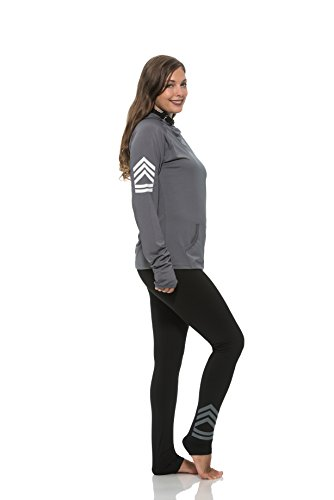(11678) S2 Sportswear Womens Military Stripe Workout Pants with Media Pocket in Grey Size: XL