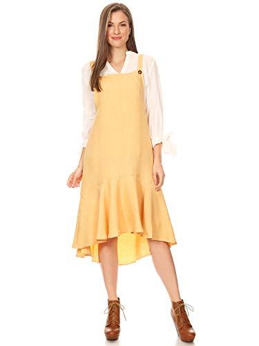 (Anna-Kaci Women's Button Strap Overall Jumper Pinafore Peplum Hem Midi Dress,Mango,Medium)