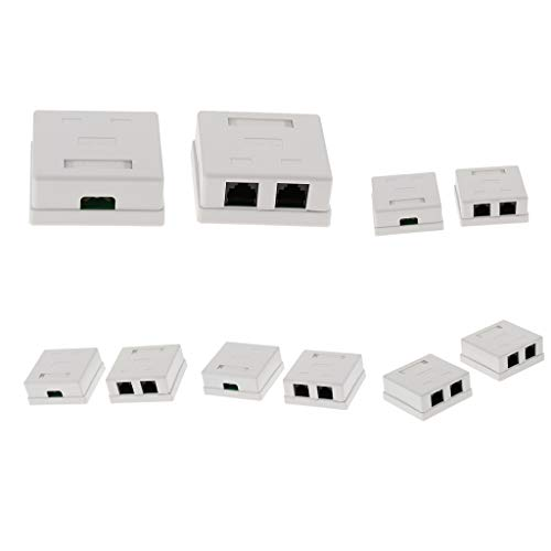 Baosity 10 Pack of Cat5e Double Port Surface Mount Outlet Box RJ45 Face Plate + Backbox Combo