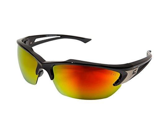 Edge Eyewear SDKAP119 Khor Black with Aqua Precision Red Mirror - Precision Sunglasses