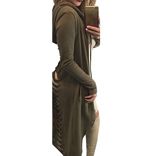 xl Lunghezza Manica S Sciolto Con Moda Hibote Donna Felpe Lunga Tasca 4 Elegante Cappotto Cappuccio RnURXf0AO