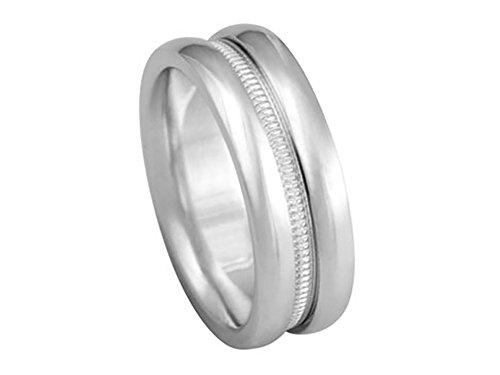 Platinum 950 Domed Wedding Band - Men's PLATINUM 950 DOUBLE DOMED MILGRAIN 6.5mm COMFORT FIT WEDDING BAND size 13.75