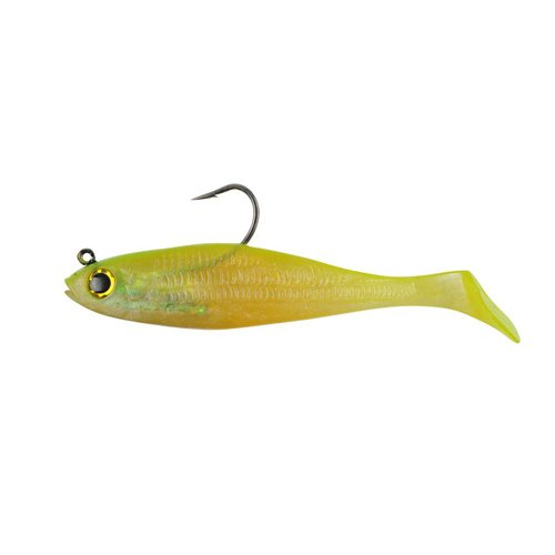 - PowerBait Pre-Rigged Swim Shad Soft Bait - Shiner Chartreuse - 4in | 10cm - Bass