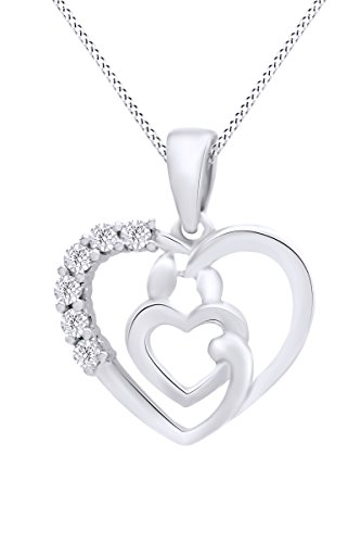 14k White Gold Over Sterling Silver Mother & Child White Diamond Accent Heart Pendant Necklace