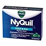 Nyquil Cold And Flu Nighttime Relief Liquid Capsules, 16 Count (Pack of 24)