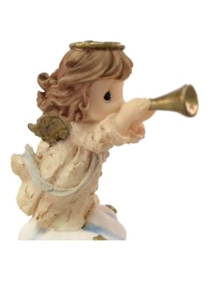 (Precious Moments Whittle Angel Bell playing the trumpet. 544272)