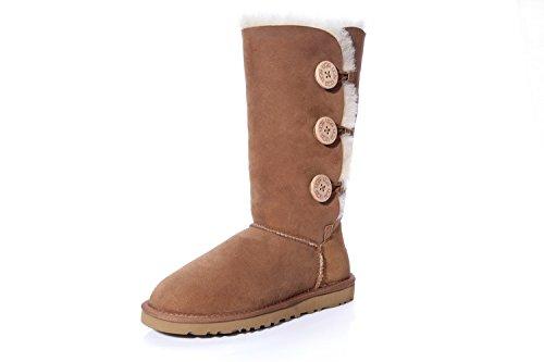 UGG-Australia-Womens-Bailey-Button-Triplet-Sheepskin-Fashion-Boots-Chestnut1873