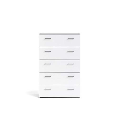 Levan Home Contemporary Design 5 Drawer Chest//Bedroom Dresser in White with Bar Handles