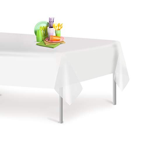 White 6 Pack Premium Disposable Plastic Tablecloth 54 Inch. x 108 Inch. Rectangle Table Cover By Grandipity - Disposable White