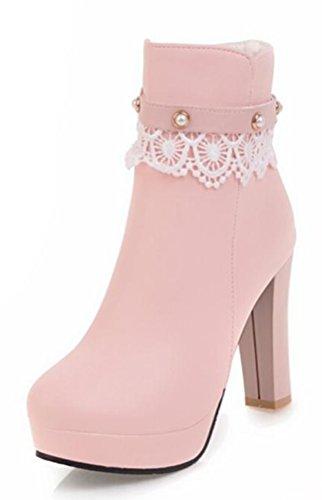 316ea6861623aa Easemax Damen Elegant Spitze Künstliche Perlen Plateau High Heels Pumps  Boots  Amazon.de  Schuhe   Handtaschen