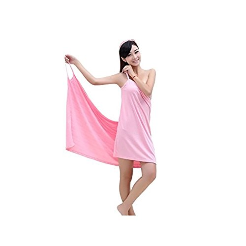 Price comparison product image MareLight Elegant Design Sexy Women's Creative Deep V Sling Backless Bath Skirt Swimwear Cover up, Bikini Cover Jacket, 5528 Inch-Pink Color-Material Microfibre-BATHROBE AND BATH TOWEL