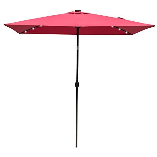 Sundale Outdoor Rectangular Solar Powered 26 LED Lighted Patio Umbrella Table Market Umbrella with Crank and Push Button Tilt for Garden, Deck, Backyard, Pool, 6 Alu. Ribs, 9 x 6.5-Feet (Red)