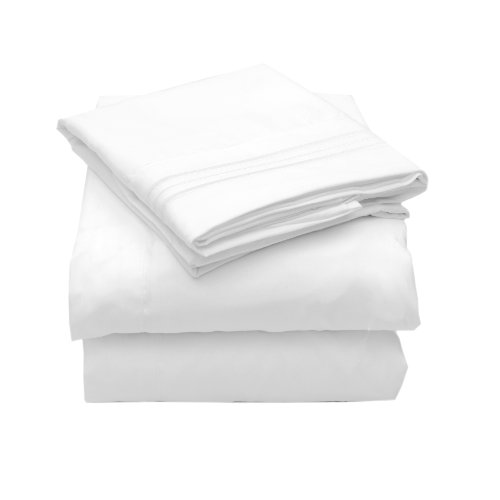 Sweet Home Collection 4 Piece 2000 12 Colors Collection Egyptian Quality Deep Pocket Bed Sheet Set, Queen, White