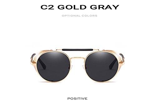 0209580248 PyLios Round Steampunk Sunglasses Men Women Cool Mirror Punk Goggles  Vintage Personality Eyewear Gafas 9234