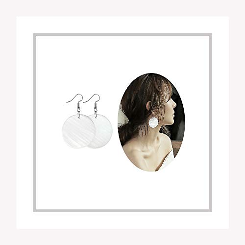 Round Shell Earrings - Elensan Woman's White Shell Round Shaped Ear Hook Fashion Jewelry Dangle Girls Earrings(4cm 925 Silver)