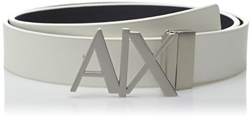 Armani Exchange Men's A X Hinge Plate Belt, White/Navy, 36