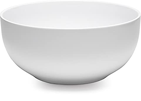 Q Squared Diamond, Round Serving Bowl, 10-inches, White (Squared Round Dining Room Table)