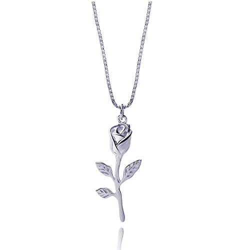 Meow Star Flower Necklace Sterling Silver Necklace for Women Necklace for Teen Girls (Silver)