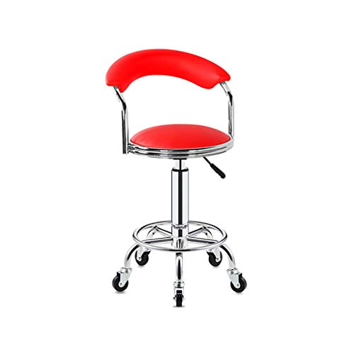Tattoo Faux Leather (XLZ Breakfast bar Stool Bar Stools Diner Retro Faux Leather Round Salon Massage Chair with Adjustable Hydraulic Tattoo in Black - Set of 2 Vaulted Back 5 Casters Footrest (Color : Red, Size : One))