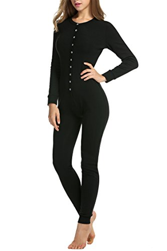 Hotouch Womens Long Sleeve Onesie Union Suit Thermal Underwear Set Sleepwear Pajama Jumpsuit Union,Black, XL]()