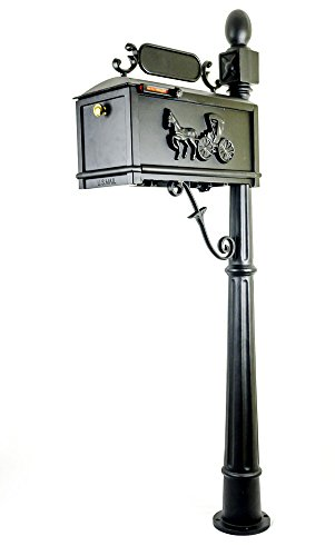 Classic Bronze Outdoor Bracket - Post Mount Mailbox with Post, Heavy Duty Cast Aluminum Decorative Mailbox for Outdoor, Residential
