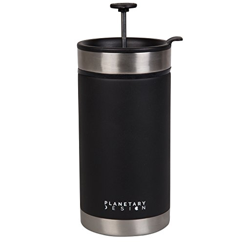 Steel Toe French Press Coffee Travel Mug with Brü-Stop Technology - 20 oz - Stainless Steel with Non-Slip Texture - Obsidian (Planetary Design French Press)