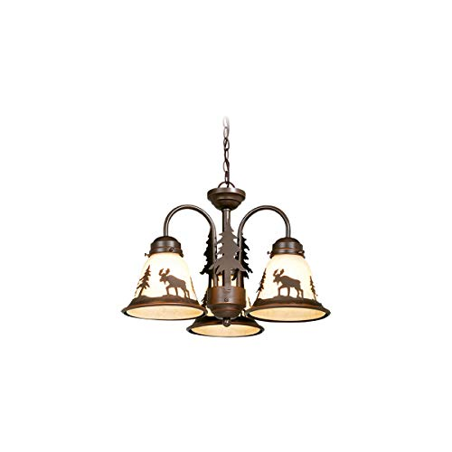 Fan Light Kits 3 Light Fixtures with Burnished Bronze Finish Steel Material Candelabra 16