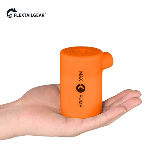 FLEXTAILGEAR Portable Air Pump with 3600mAH Battery USB Rechargeable lightweight Air Pump - Quick Inflate and Deflate for Your Air Mattress, Pool Toys, Floats, swimming Ring, Lifebuoy, Air Bed (Orange