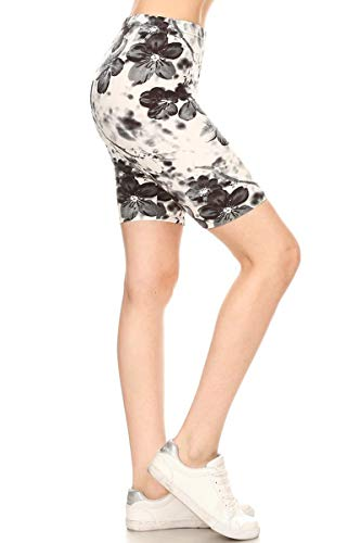 Leggings Depot LBKX-R657-1X Floral Infusion Printed Biker Shorts, 1X Plus