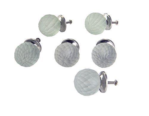 Dritz Home 47024A Frosted Glass Faceted Ball Knob Handcrafted Knobs for Cabinets & Drawers (Cabinet Knobs Frosted Drawer)