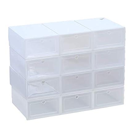 Bigbutterfly 12 Cajas de Zapatos de Plástico Transparente, Zapatero de Almacenaje 34 x 24 x