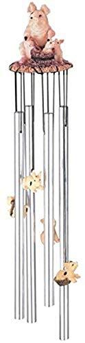 StealStreet SS-G-41273 Round Top Pig Hanging Garden Porch Decoration Wind Chime