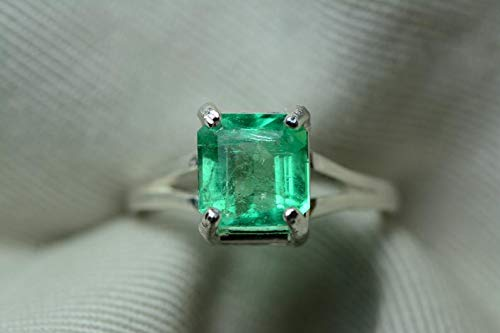 Certified 2.52 Carat Emerald Ring, Colombian Emerald Solitaire, Sterling Silver Genuine Real Natural Emerald Cut May Birthstone Jewelry er12 ()