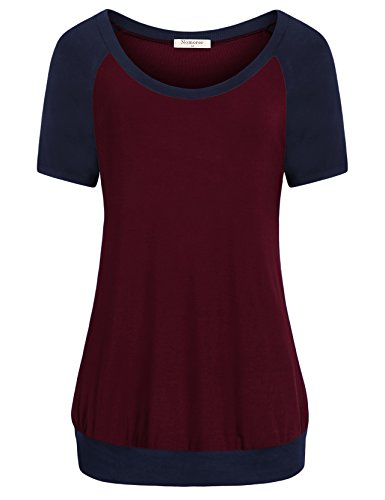 Nomorer Pullover Shirt Womens Tee Shirts, Solid Short Sleeve Shirt Women Basic Crew Neck Blouse Tops (Wine S)
