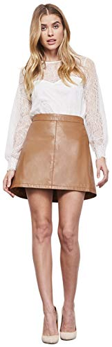 (cupcakes and cashmere Women's Marrie Leather A-line Skirt, Dark Camel, 6 )