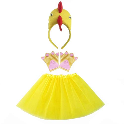 Kids Girls Cute Animal Headband with Tutu Skirt Party Costume Headband Set Cosplay -