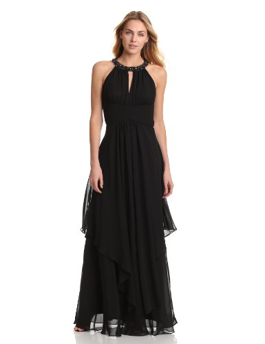 Eliza J Women's Sleev Halter Neck Long Gown With Ruched Bodice And Waist, Black, (Ruched Bodice Gown)