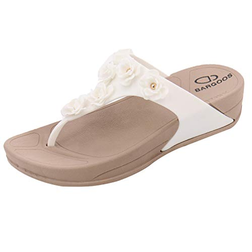 BARGOOS Women's Comfort Thong Slides Footbed Sandals Waterproof Flip Flops with Arch Support for Indoor Outdoor 003#White 40