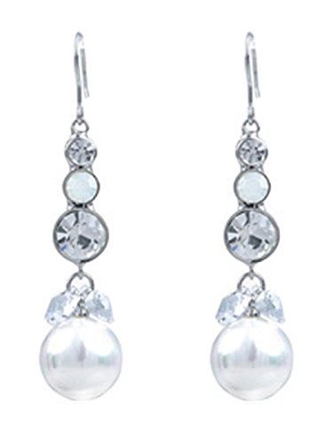 Alilang Swarovski Crystal Element Silver Tone Faux Pearl Clear Crystal Colored Fish Hook Dangle Earrings