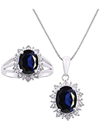 """Princess Diana Inspired Halo Pendant Necklace & Matching Ring - Oval Shape Gemstone & Genuine Sparkling Diamonds in 14K White Gold - 9X7MM Color Stone With 18"""" Chain"""