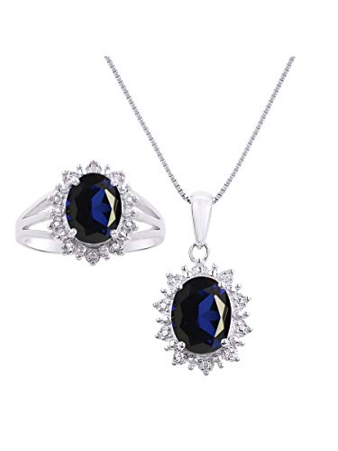 Diamond & Sapphire Matching Necklace & Ring In Sterling Silver .925 Princess Diana Inspired Halo Design ()