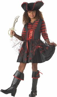 Captain Cutie Girls Pirate Costumes (Kid's Captain Girl Pirate Costume (Size:Lg 10-12))
